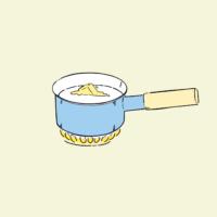 イラスト:牛乳の中で溶けるバター
