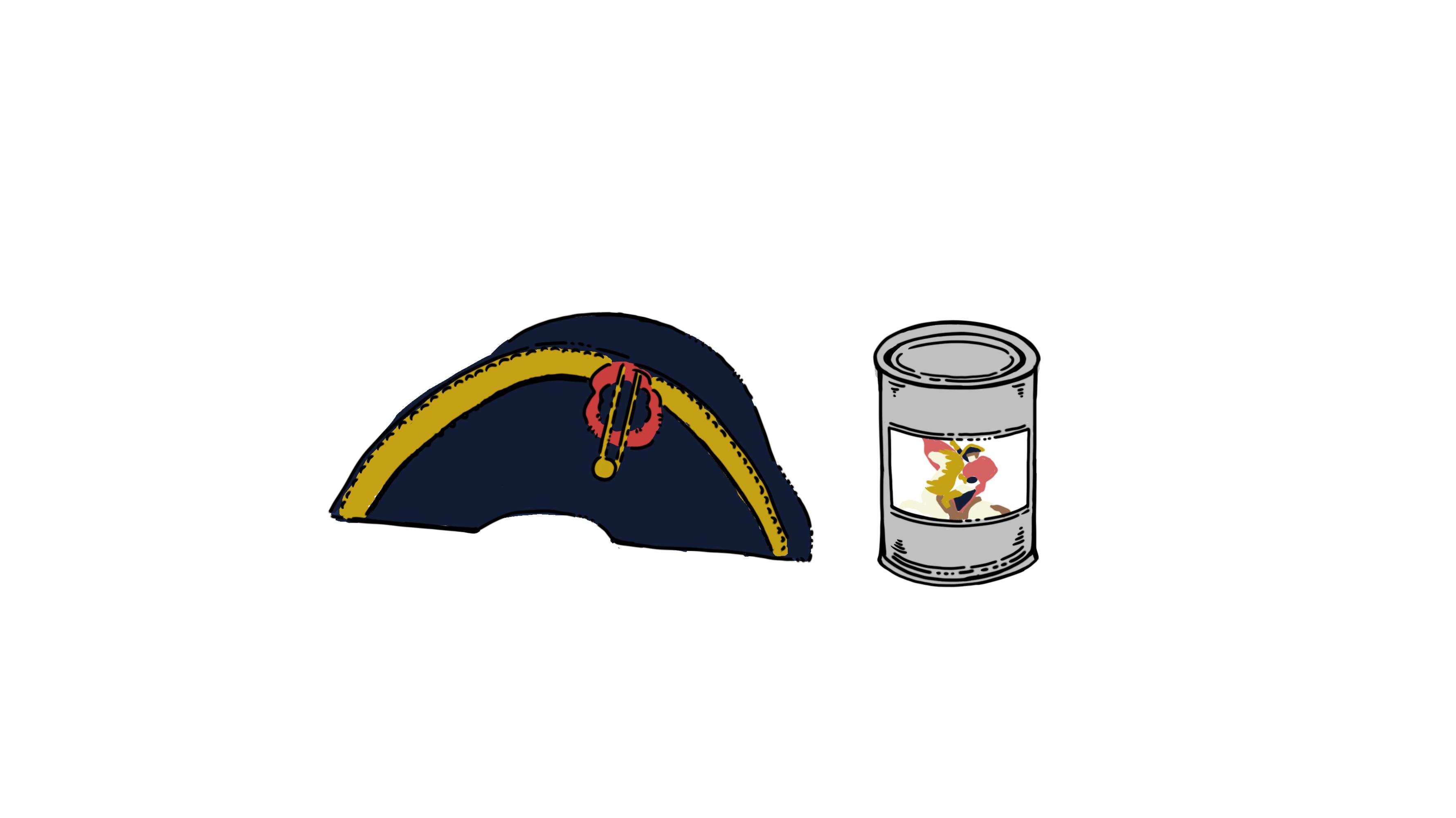イラスト:ナポレオンの帽子と缶詰