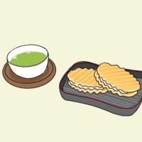 イラスト:茶菓子、旅館