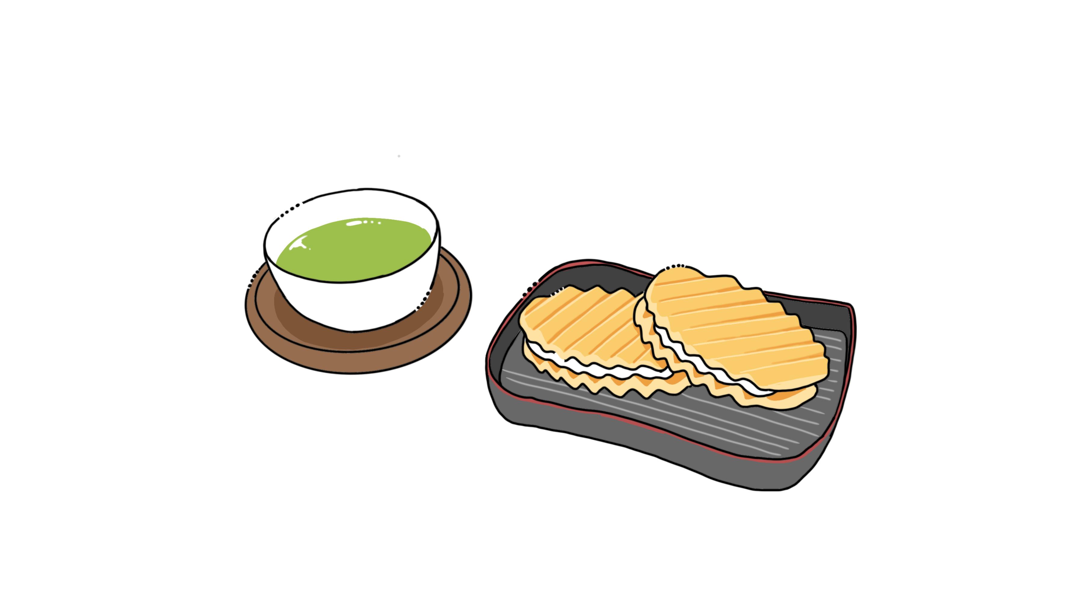 イラスト:旅館、茶菓子